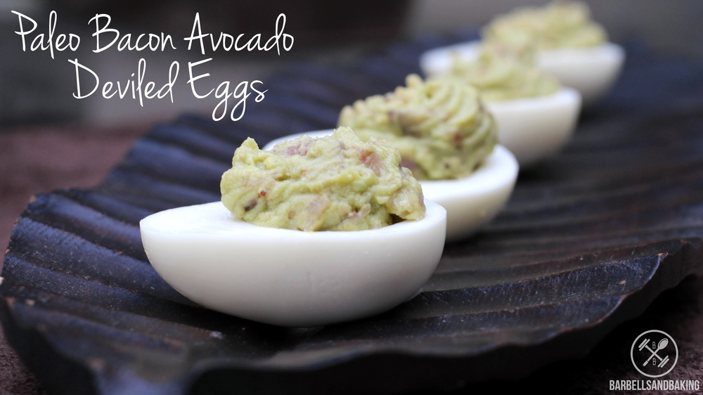 Paleo Bacon Avocado Deviled Eggs | www.barbellsandbaking.com