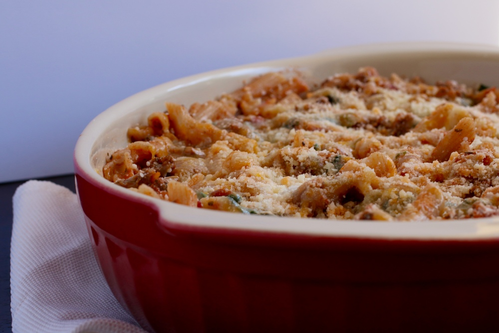 Gluten Free Ground Beef & Spinach Bake | www.barbellsandbaking.com