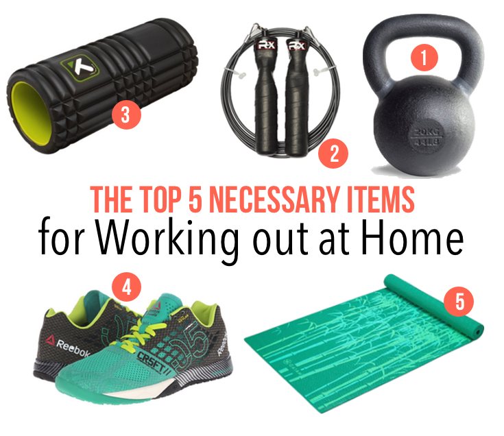 Top 5 Necessary items for working out at home | www.barbellsandbaking.com