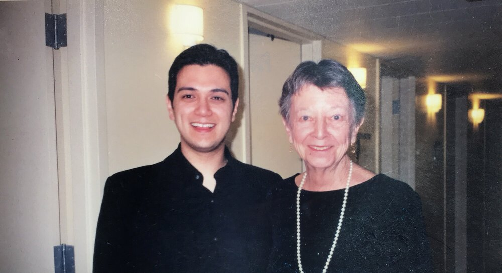 Me and Rosemary Russell backstage at my professional debut singing Iopas in Berlioz'  Les Troyens  with the Chicago Symphony in 2002.