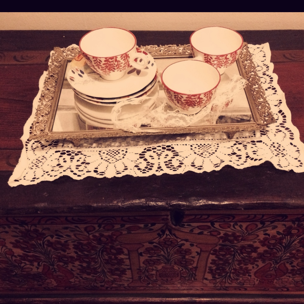 Teacups on the vintage chests