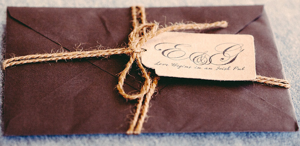 Vintage wedding envelope with twine