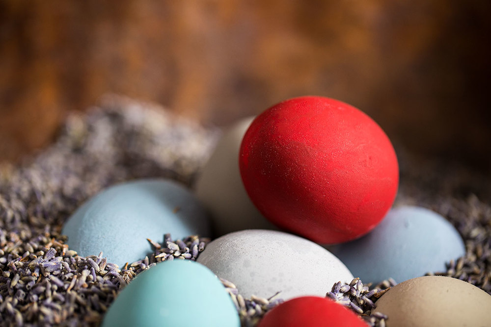 Happy Easter with lavender seeds and hand-painted eggs