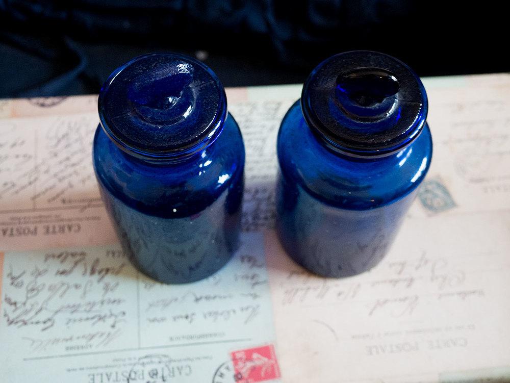 Vintage blue jars