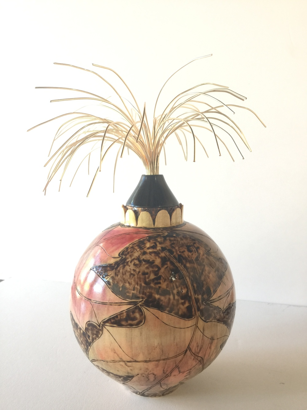 "Maple Hollow Form Pyrographed Dyed Leaves with Ebony Gold Wire Tree 11'' high x 7"" wide - $550"