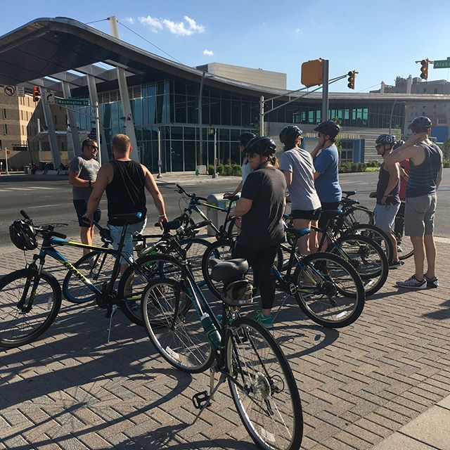 Some of our members had the privilege of spending yesterday evening with @nine13sports on a tour of downtown Indianapolis on their Week Without Walls bikes funded by the 2016 Let's Wine About It grant. We had a blast! Thanks to Tom and Ashley for giving us a taste of their new program. #JCI #dare2impact #jaycees #loveindy #culturaltrail #massave #massaveindy #philanthropy