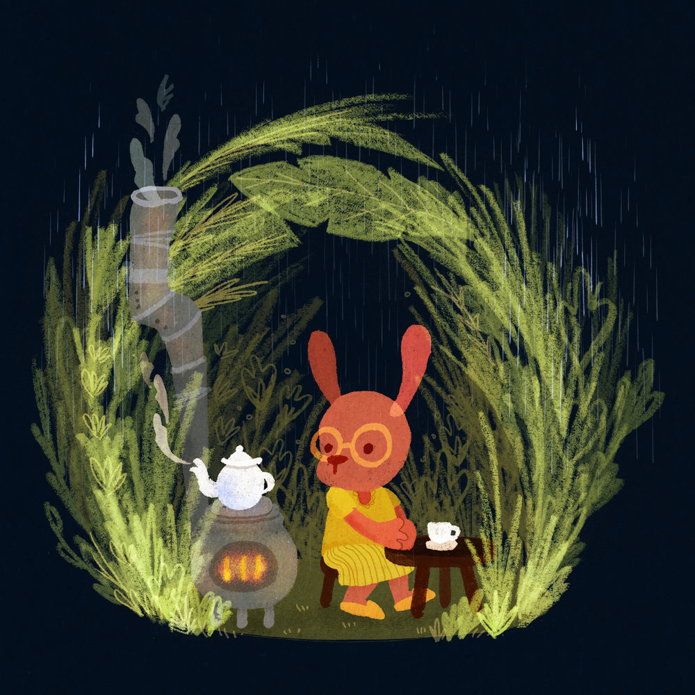 Tea Time In Rain