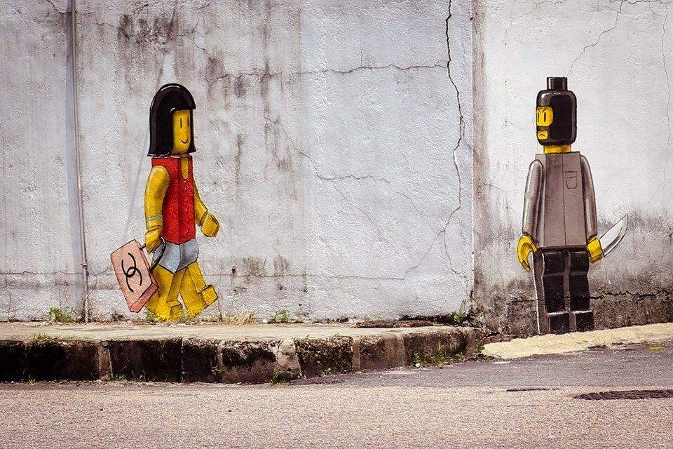 "Around the corner… Ernest Zacharevic ""Untitled"" 2013 Johor Bahru,Malaysia"
