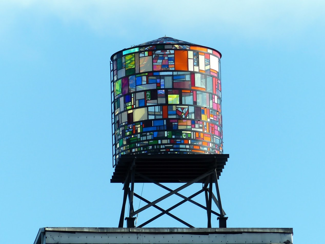 Stained glass water tower near Manhattan Bridge. Wavy.