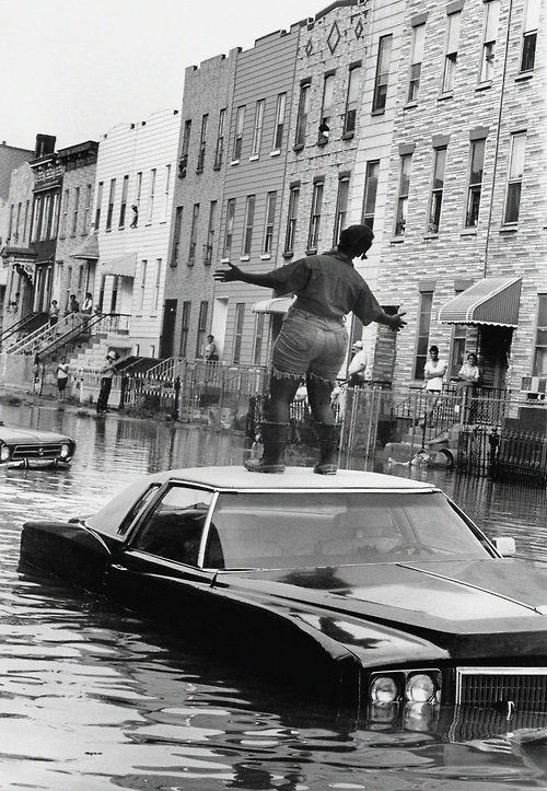 Water main break,  Brooklyn  New York City,  1978.