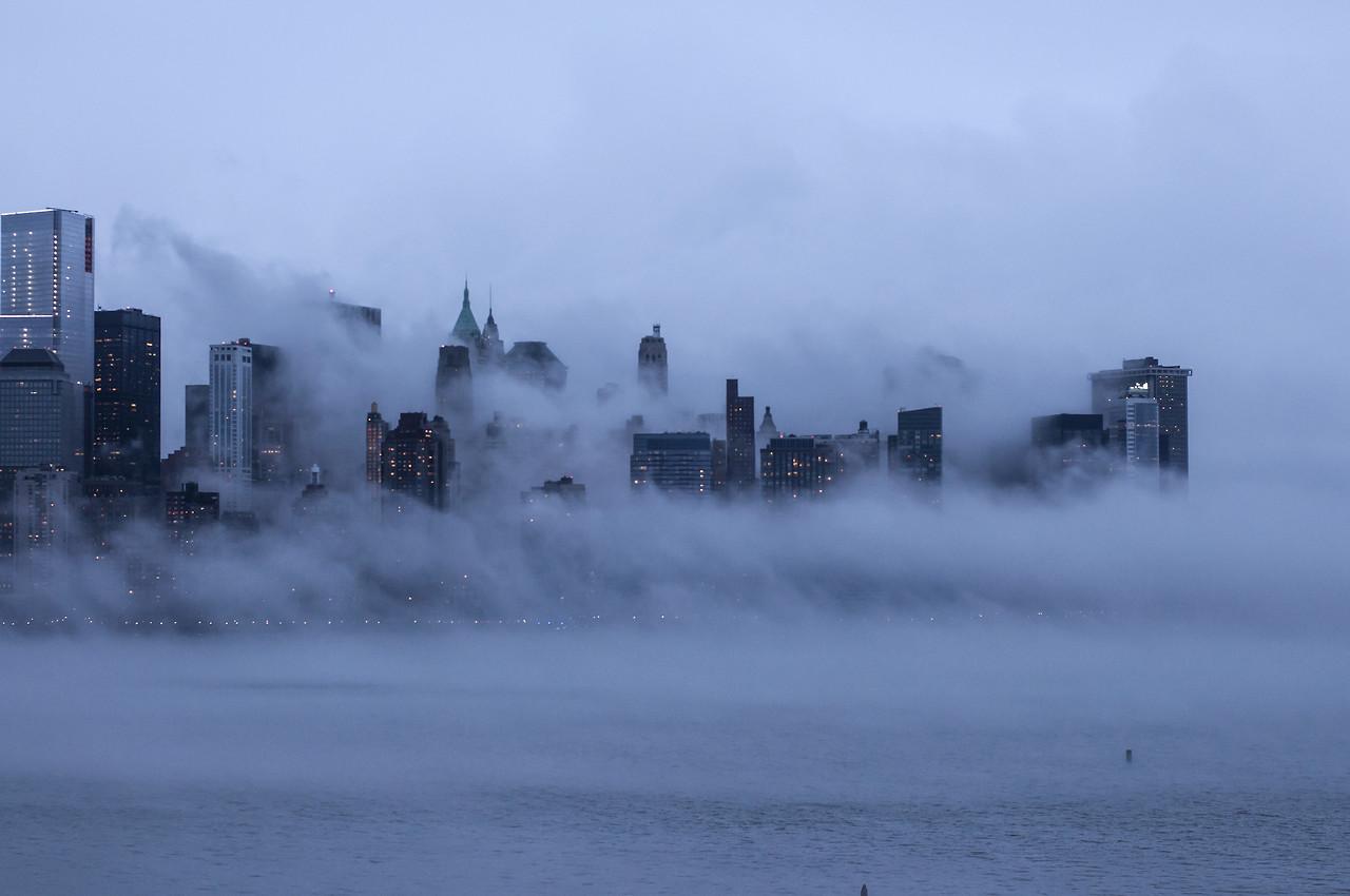 Manhattan, New York City. January 2014. Looking like Gotham. (Twitter)