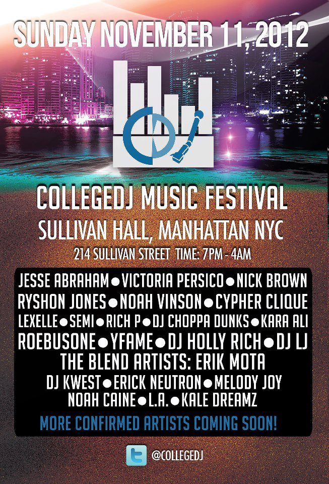 This November 11th I'll be performing LIVE at the College DJ Music Festival at Sullivan Hall here in NYC! Come out to see a lot of dope artists from different genres as well as a few other surprises.. Bottom line, you don't want to miss it! College DJ Music Festival Sullivan Hall November 11th 214 Sullivan Street 7pm-4am
