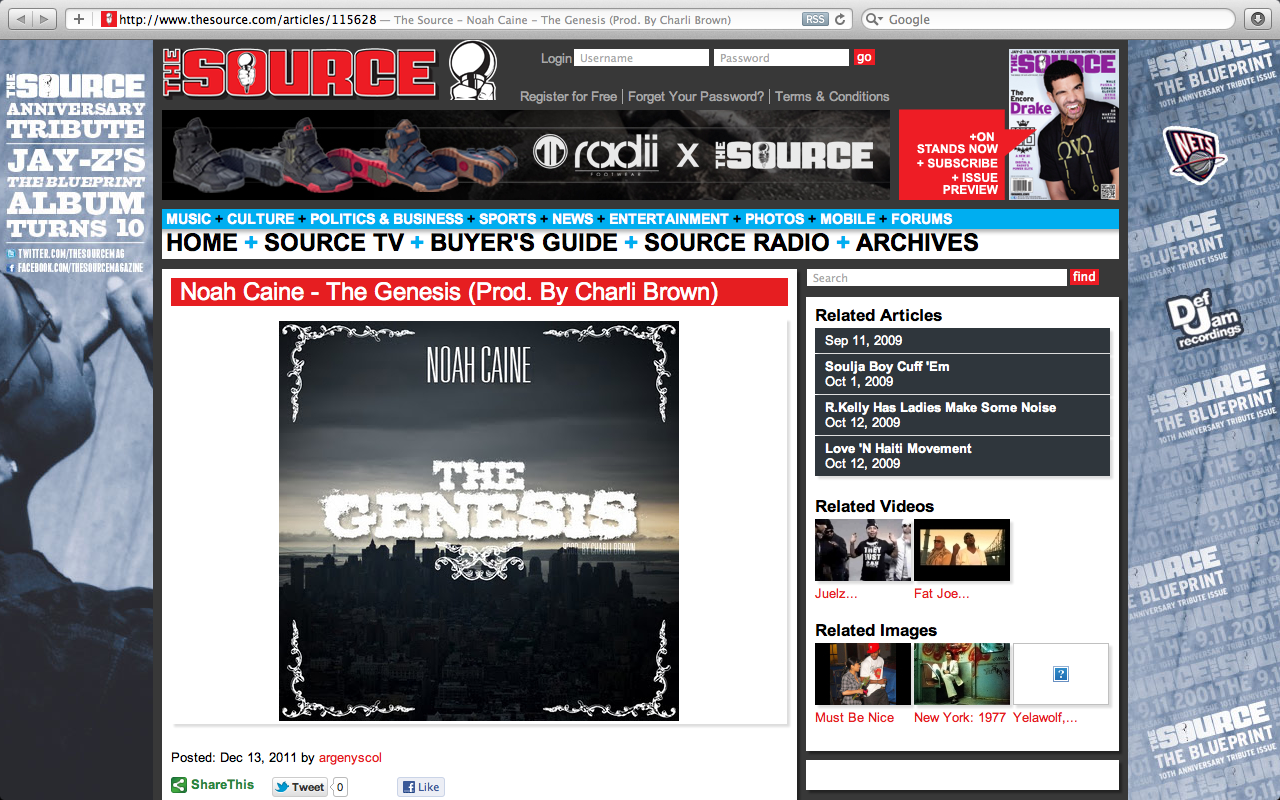 Featured on  The Source Magazine's  website. Enjoy, leave a comment too..    Noah Caine - The Genesis (Source Magazine feature)     Noah Caine: The Pre-Season  drops in  January .   Steady.