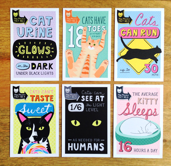 Cat fact cards from www.missmewow.com