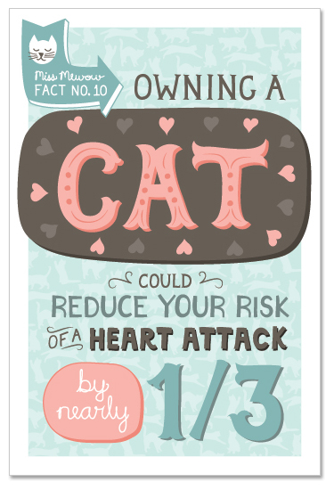Owning a cat could reduce your risk of a heart attack by nearly 1/3.