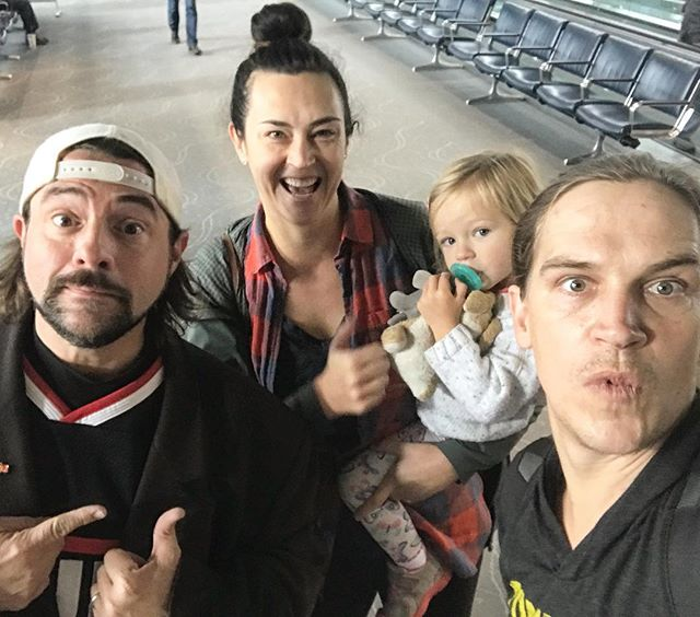 Headed back to🔥 SB from Denver today with a lucky send off from @jayandsilentbob #wrensworld #shesnotimpressed #butmomwas