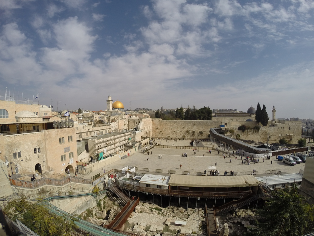The view of the Western Wall in Jerusalem.