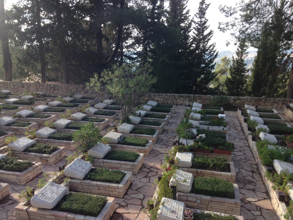 The graves of Israeli soldiers at Mt. Herzl.