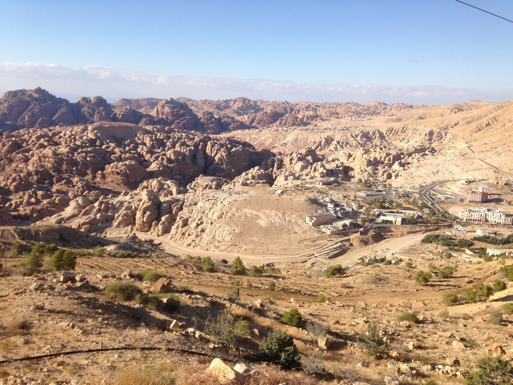 Looking down on the dirt road that leads into Petra