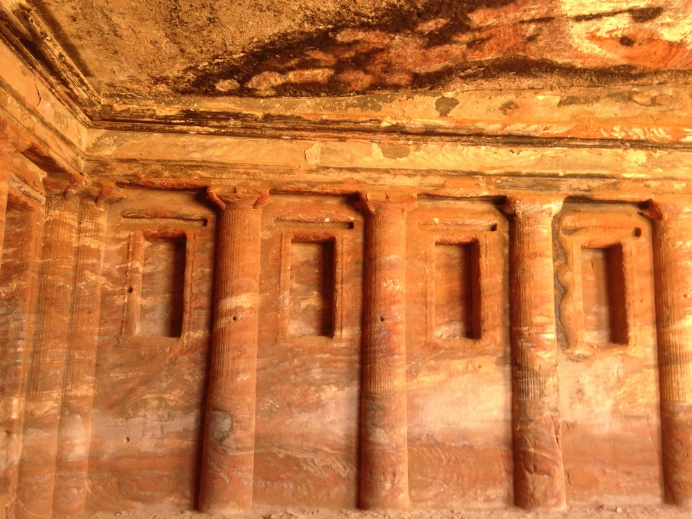 Inside one of the caves of Petra
