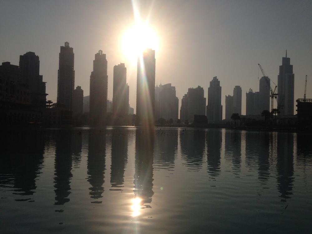 A skyline of Dubai.