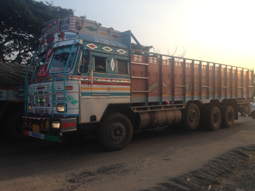 The colorful trucks of India.