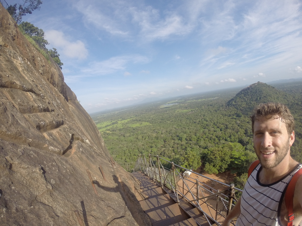 Climbing up Sigiriya Rock.