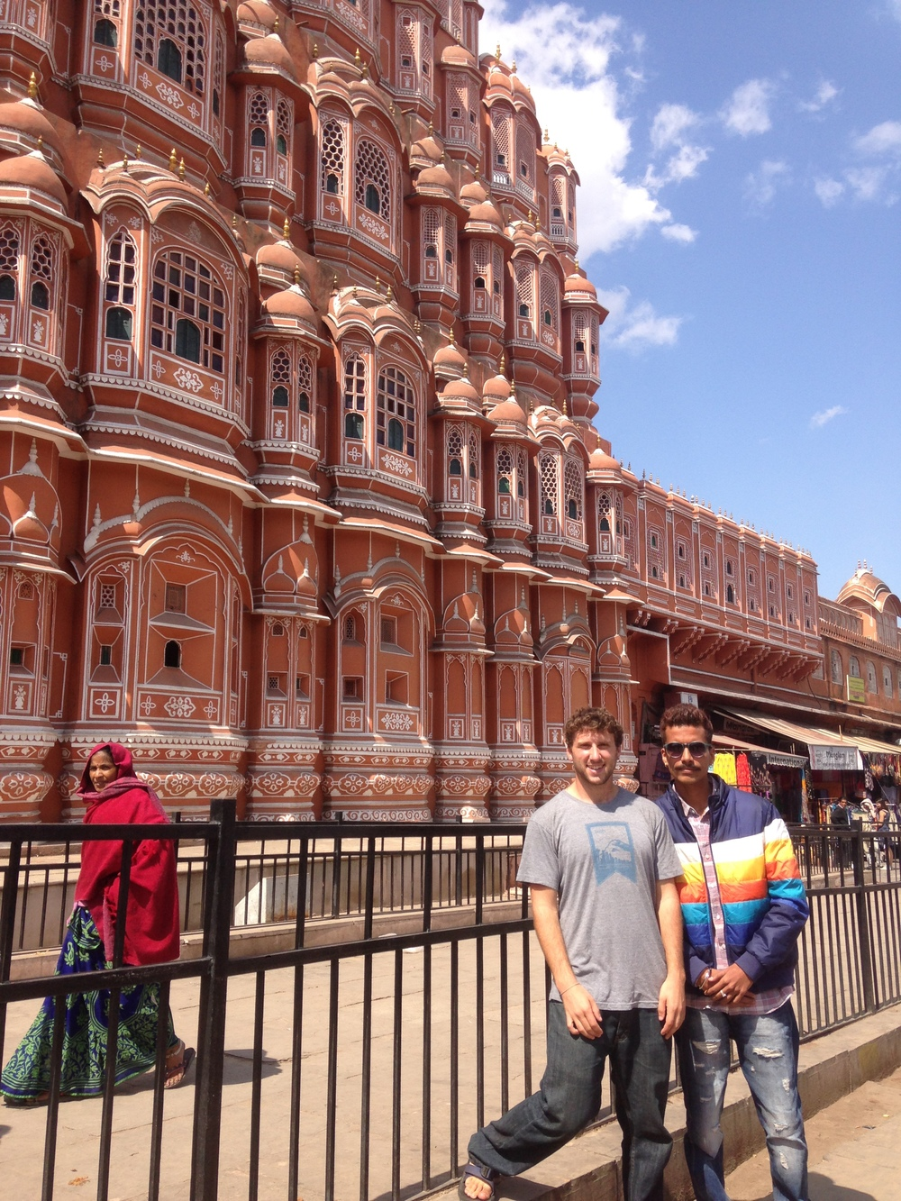 Utsav and I in front of the Hawa Mahal in Jaipur.