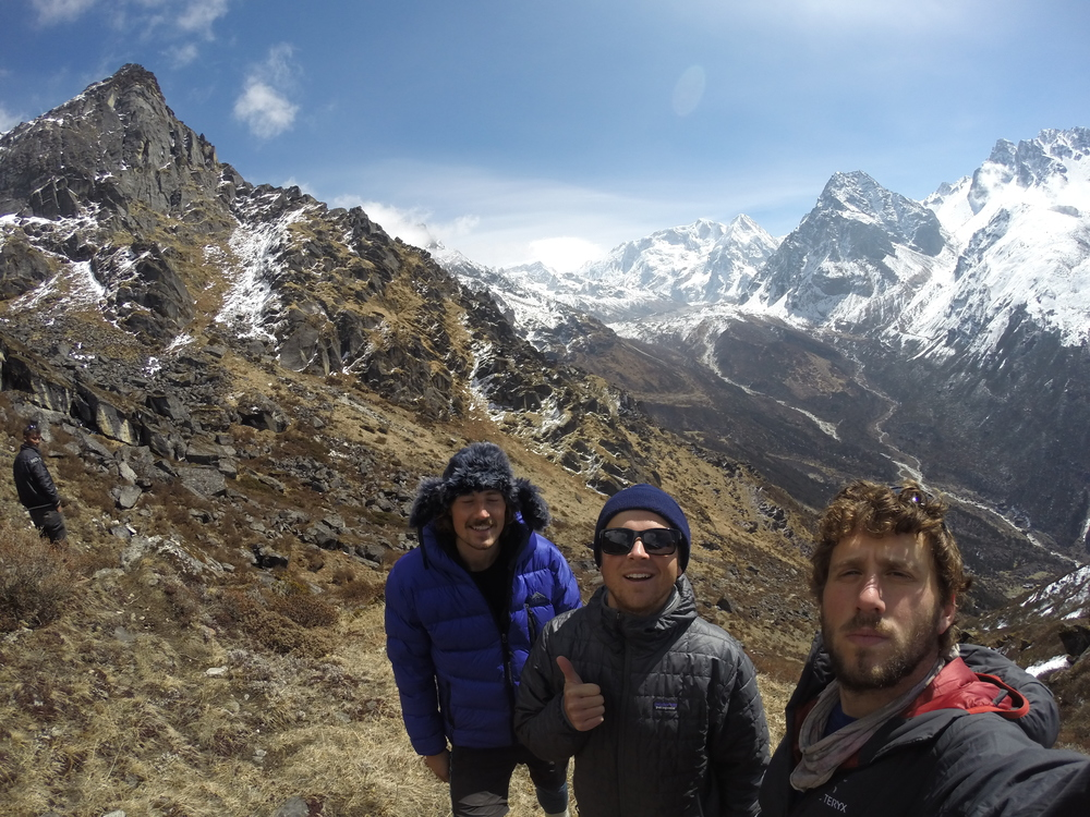 Michael, Robert, and I at around 4200m high. Our highest ascent during the trek.