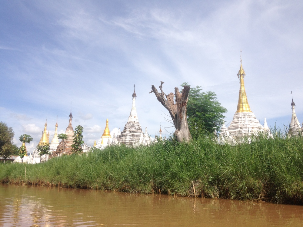 Pagodas in the Indein canal at Inle Lake