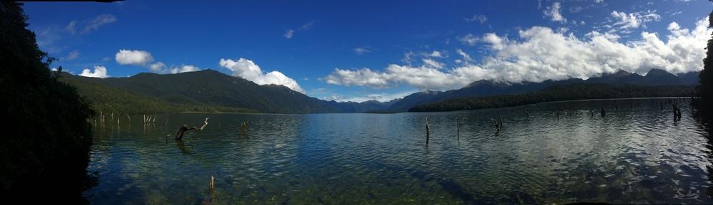 Taking a dip in Lake Monowai