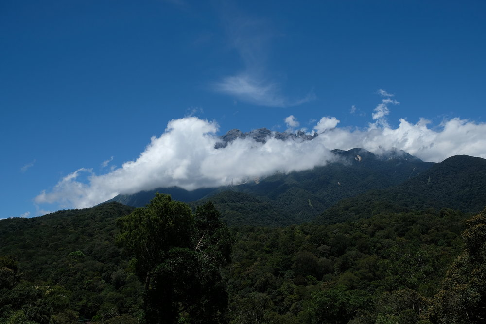 Mt. Kinabalu poking through the clouds