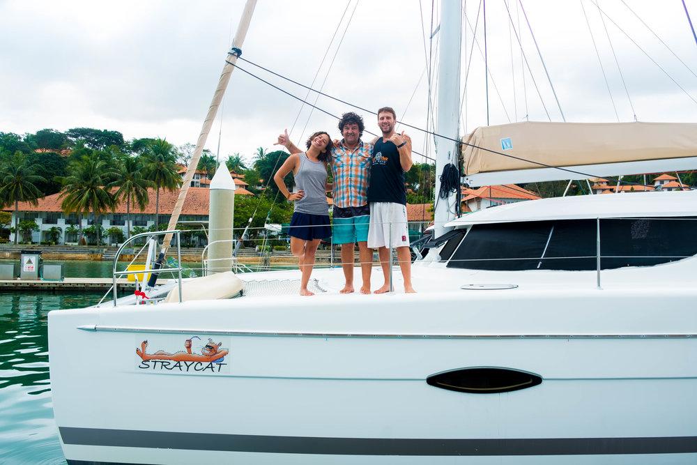 Larissa, Captain Rob, and I at Nongsa Point Marina, Batam Island, Indonesia