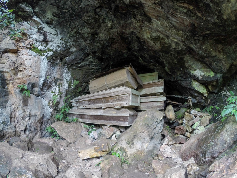 Coffins in a cave