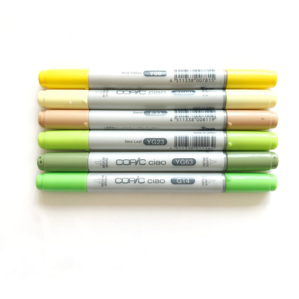 COPIC CIAO MARKERS USED IN THIS LESSON    Yellow Markers   YG00 Y08    Tan Marker   E33    Green Markers   YG23 G14 YG63