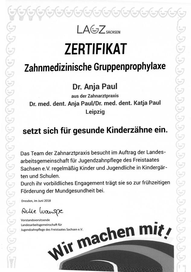 Zertifikat Zahnmedizinische Gruppenprophylaxe