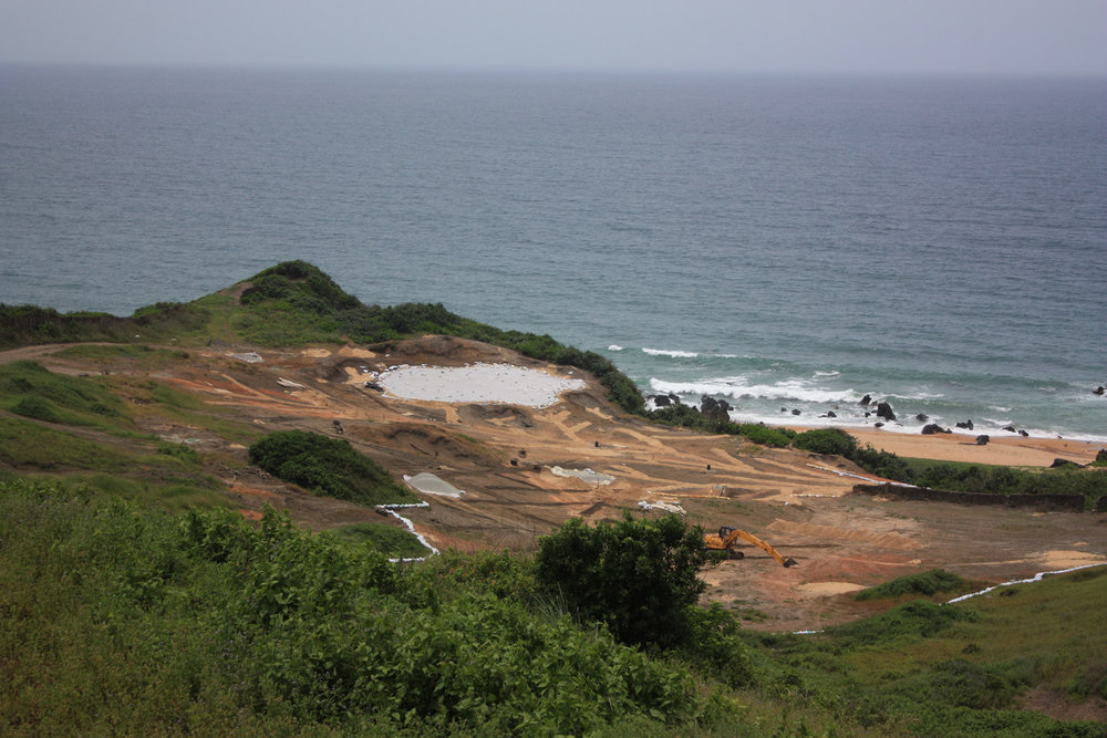The 16th hole at Shanqin Bay under construction