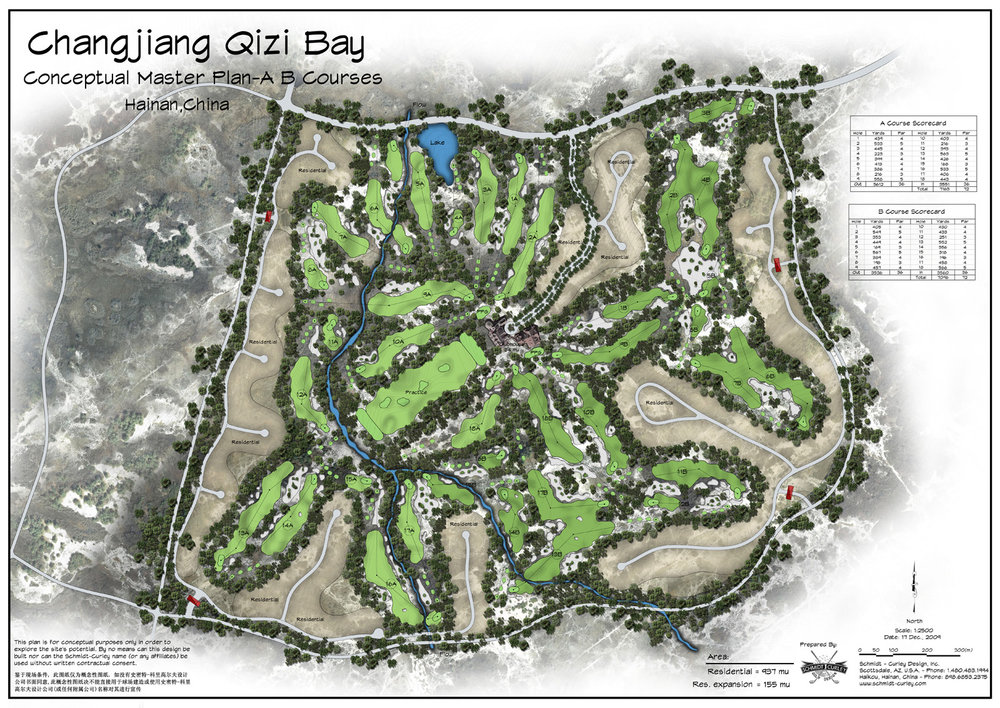 Proposed 36 hole routing and land plan for Qizi Bay