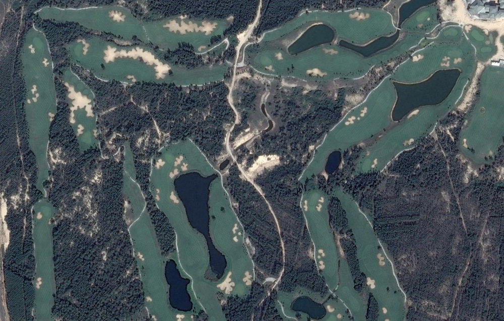 "Aerial View of the ""other"" course featuring numerous lakes and cookie cutter bunkering"