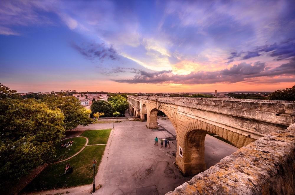 Aqueduc romain depuis la promenade du Peyrou, Montpellier