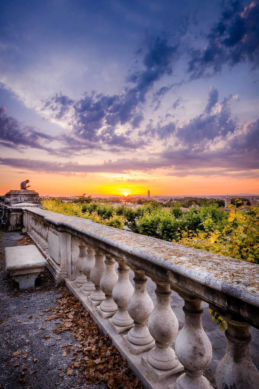 Coucher de soleil depuis la promenade du Peyrou, Montpellier