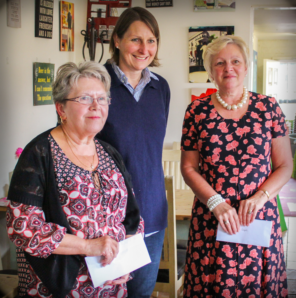 Joint winners Kath Bouston and Di Rogers with  Annabelle Pearson from Radway Garden Centre at the back.