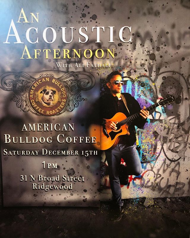 Coffee and Acoustics Saturday 12/15 Ridgewood Cafe #supportlocalmusicians #supportlocal offeeshops #localcoffeeroasters #black coffeeandlivetunes #vegan #gluten-free organic #oat milk #macadamiannutmilk #comeinoutofthecold #comingsoontoramseynj #followthebulldog