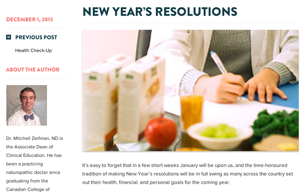 Blog content targeting New Year's Resolution searches