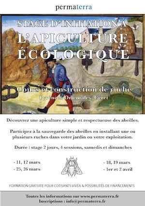 Stages apiculture écologique, 4 sessions, avril 2017 David Mérino-Rigaill