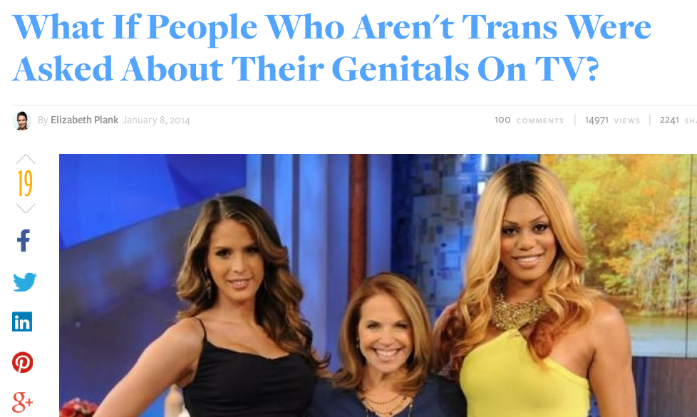 What if People Who Are Not Trans Were Asked About Their Genitals on TV?