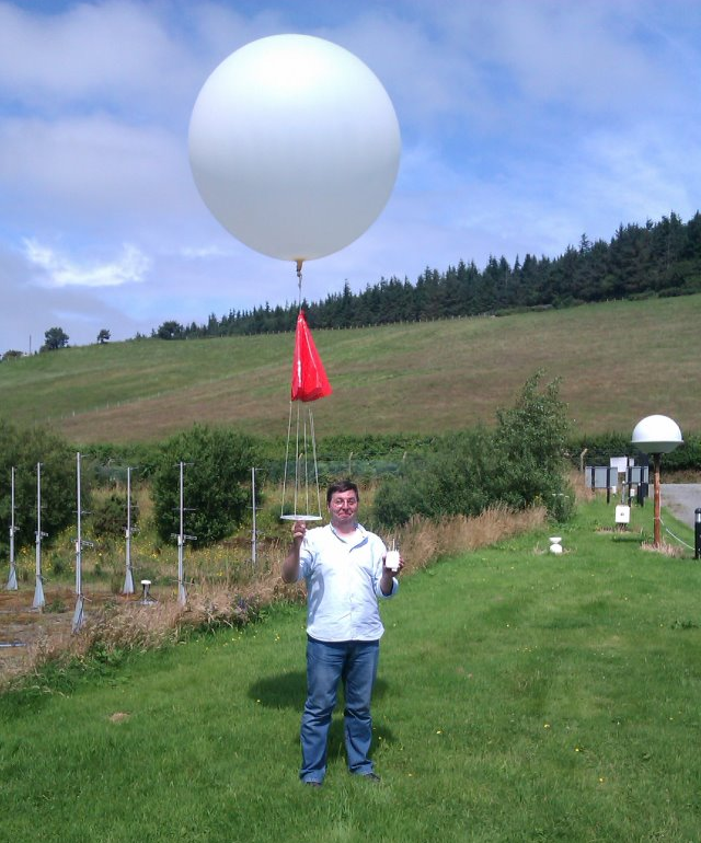 Launching a radiosonde at Capel Dewi during the TROSIAD project on July 2012.