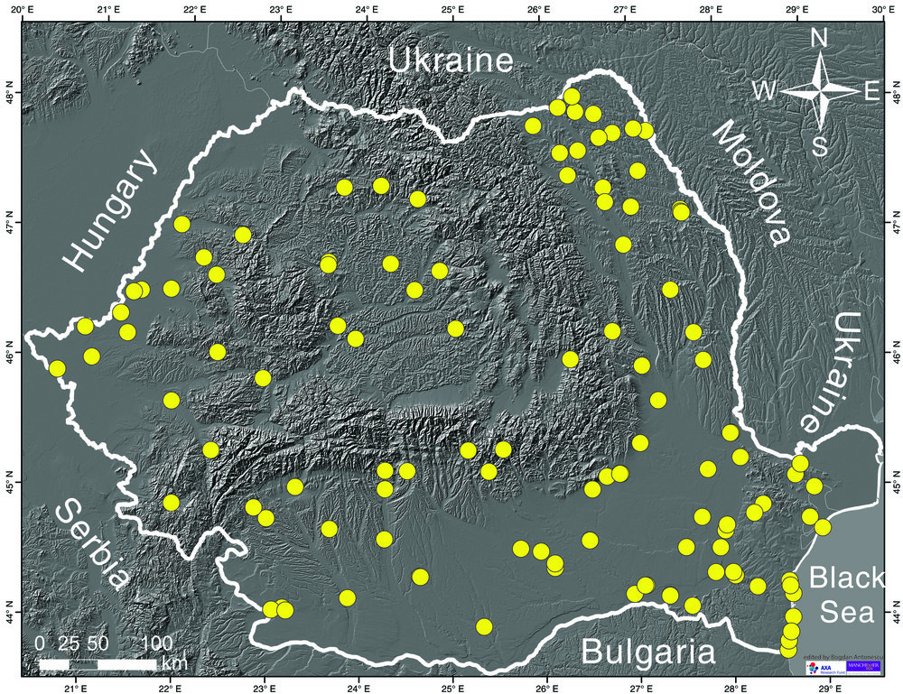 Figure 1. Tornadoes reported in Romania between 1822 and 2013.  (click on the image to explore the details)