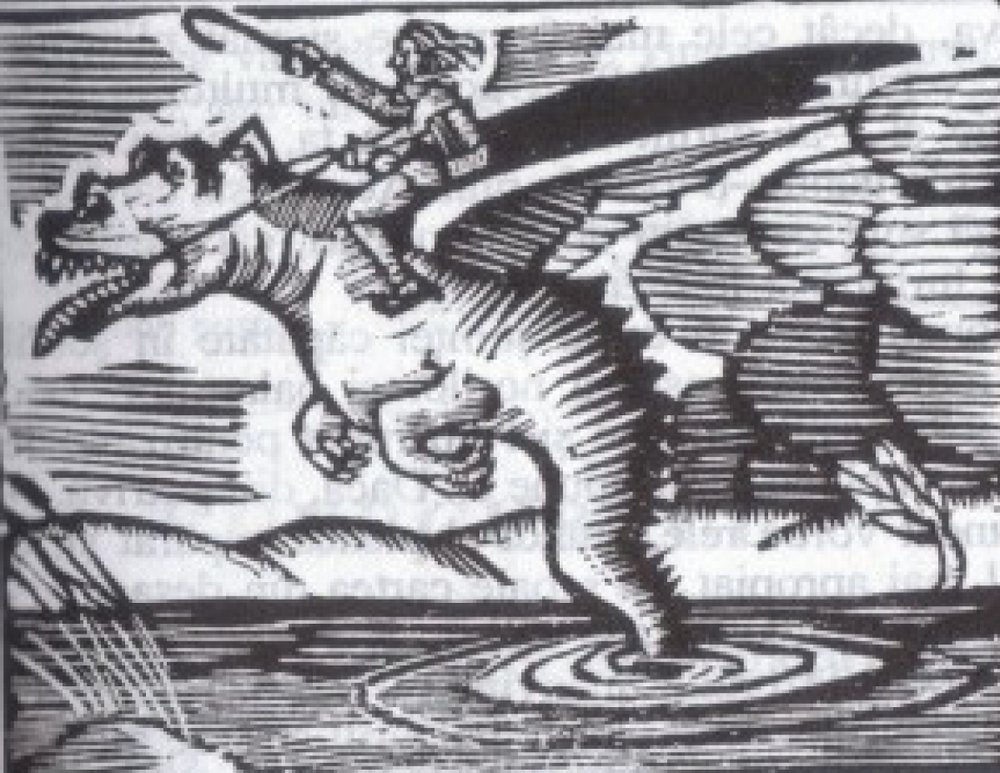 "The Dragon and the sorcerer as seen by Marcel Olinescu in ""Mitologie Românească"" (Romanian Mythology) (source)."