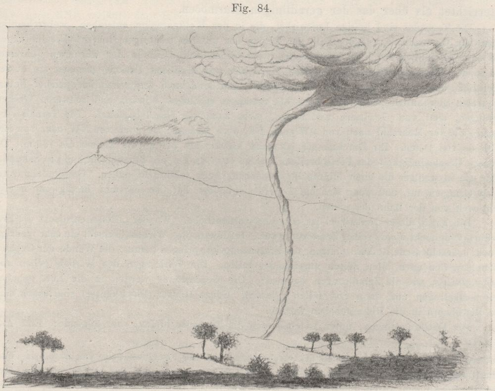 Tornado over the foothills of  Mount Etna  on 7 October 1884 based on a publication of the Meteorological Observatory of  Riposto  ( Sicily  region).   source:  von Hann, J. , 1906: Lehrbuch der Meteorologie. C.H. Tauchnitz, 1005 Leipzig, 847 pp. (courtesy of the  University of Manchester Library )